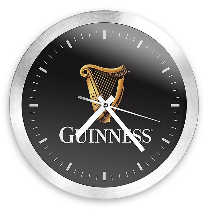 Alternate image 1 for Guinness® Round Wall Clock in Brushed Aluminum