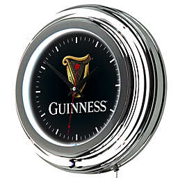 Guinness® Double Ring Neon Wall Clock in Chrome