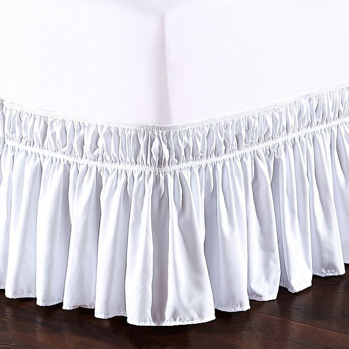 Alternate image 1 for De Moocci Easy Wrap Ruffled Twin/Full Bed Skirt in White