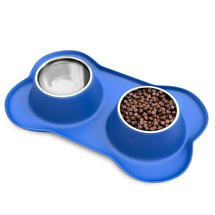 Alternate image 1 for PETMAKER™ 24 oz. Pet Bowls with Non-Slip Silicone Tray in Blue/Stainless Steel