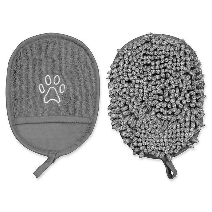 Alternate image 1 for Pawslife™ Clean Pup Fabric Mitt in Grey (Set of 2)