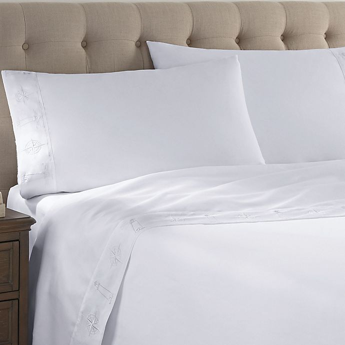 Alternate image 1 for Hidden Retreat Compass 300-Thread-Count California King Sheet Set in White