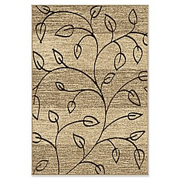 Orian Rugs Four Seasons Kingwood Leaves Woven Area Rug in Beige