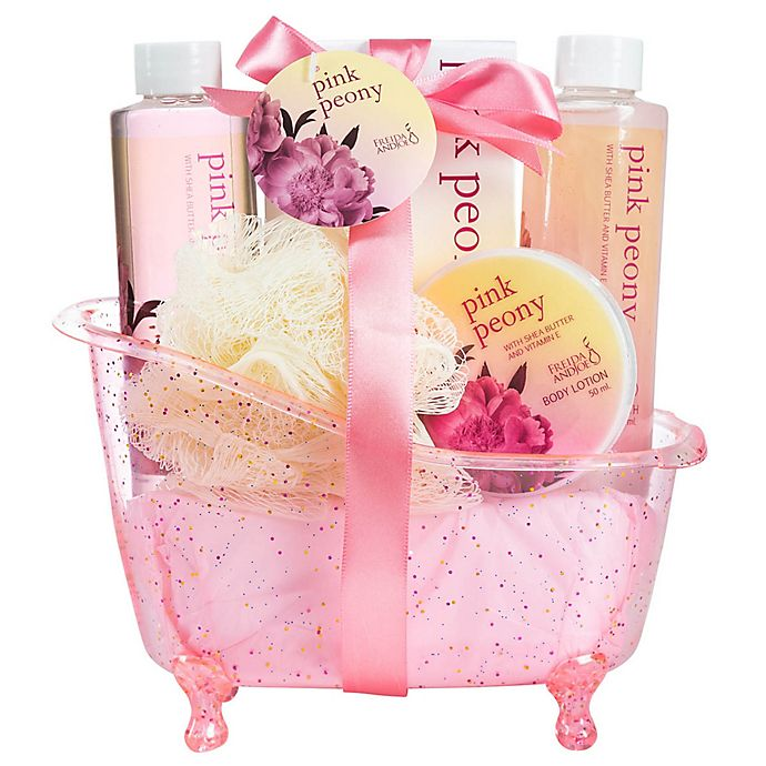 Alternate image 1 for Freida & Joe Pink Peony Bath Spa Set
