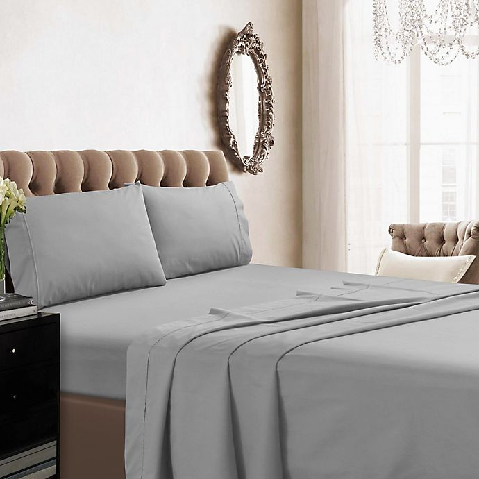 Alternate image 1 for Tribeca Living 350-Thread Count Percale Deep-Pocket California King Sheet Set in Silver
