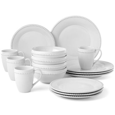 Lenox 174 French Carved Pearl 16 Piece Dinnerware Set Bed