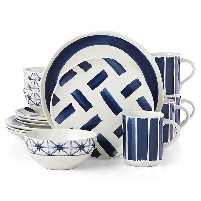 Alternate image 1 for Lenox® Painted Elements™ Indigo Brushed 16-Piece Dinnerware Set