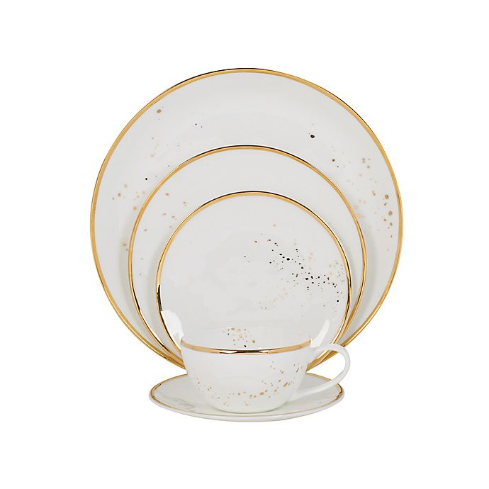 Alternate image 1 for Olivia & Oliver™ Harper Splatter Organic Shape Gold 5-Piece Place Setting
