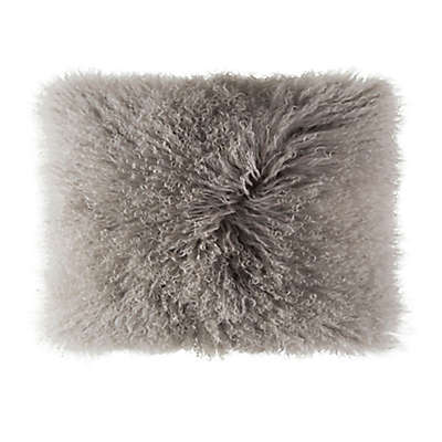 Cloud9 Design Mongolian Fur 14-Inch x 20-Inch Oblong Throw Pillow in Grey