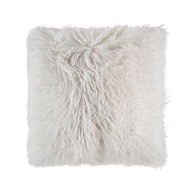 Cloud9 Design Mongolian Fur 18-Inch Square Throw Pillow in Ivory