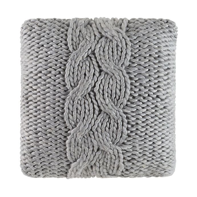 Alternate image 1 for Cloud9 Design Chunky Knit 22-Inch Square Throw Pillow in Grey