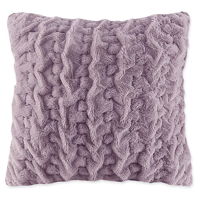 Alternate image 1 for Madison Park Ruched Faux Fur Square Throw Pillow in Lavender