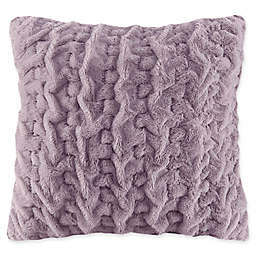 Madison Park Ruched Faux Fur Square Throw Pillow in Lavender