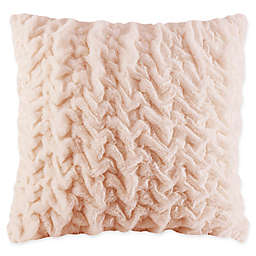 Madison Park Ruched Faux Fur Square Throw Pillow in Blush
