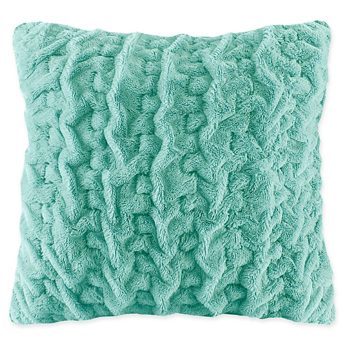 Alternate image 1 for Madison Park Ruched Faux Fur Square Throw Pillow