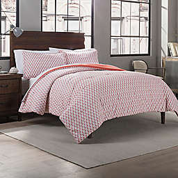 Garment Washed Paisley Printed 2-Piece Reversible Twin/Twin XL Comforter Set in Coral