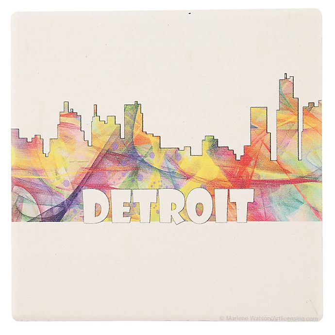 Alternate image 1 for Thirstystone® Dolomite Detroit Skyline Single Square Coaster