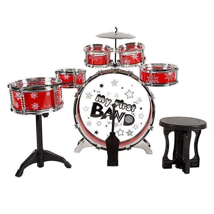 Alternate image 1 for Hey! Play! 7-Piece Toy Drum Set for Kids