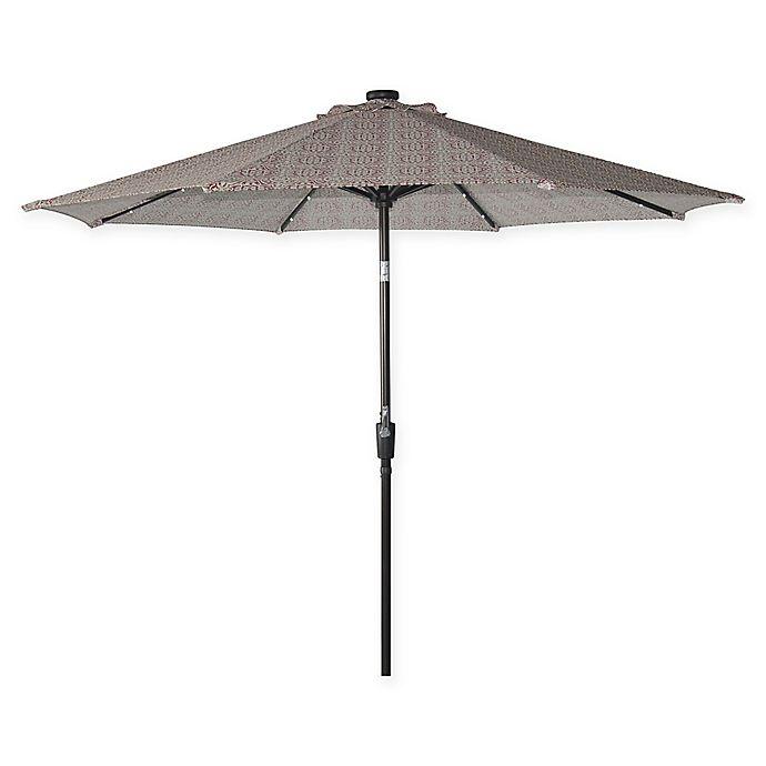 Destination Summer 9 Foot Aluminum Solar Umbrella In Block Red Bed