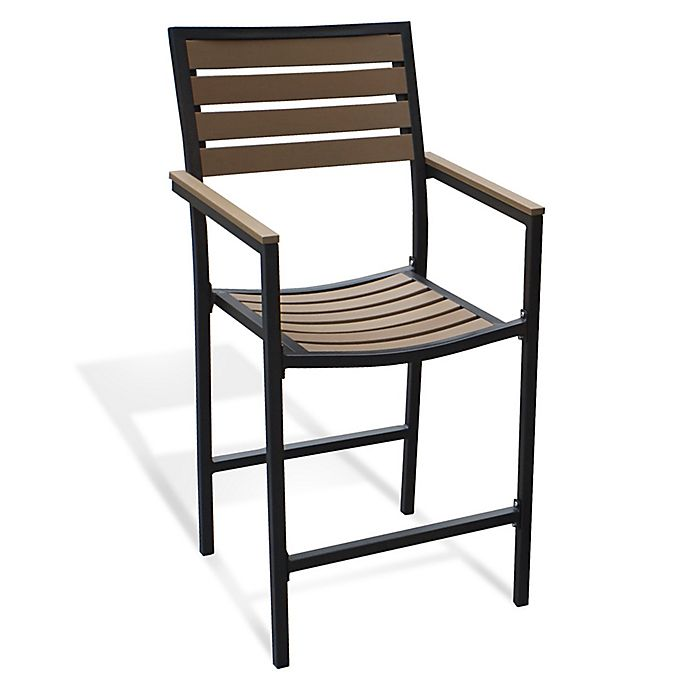 Metro All-Weather Resin Wood High Dining Chairs (Set Of 2