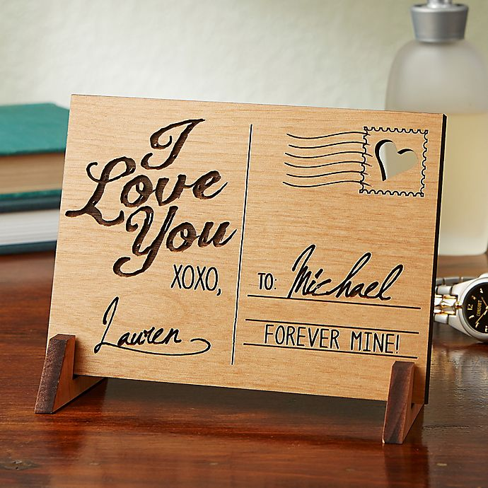 Alternate image 1 for Sending Love Personalized Wood Postcard Collection
