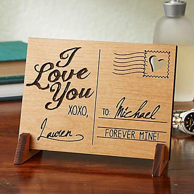 Sending Love Wood Postcard