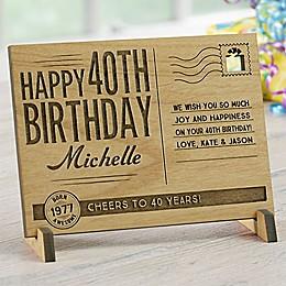 Sending Vintage Birthday Wishes To You Wood Postcard