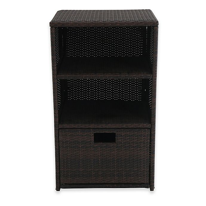 Alternate image 1 for Barrington Outdoor Wicker Towel Storage in Brown