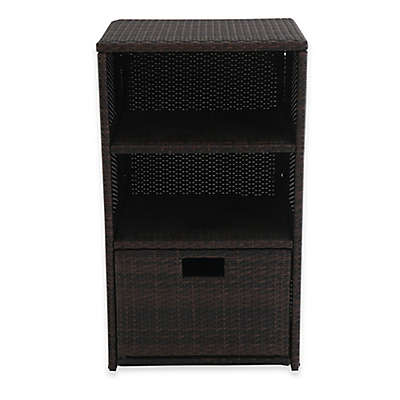 Barrington Outdoor Wicker Towel Storage in Brown