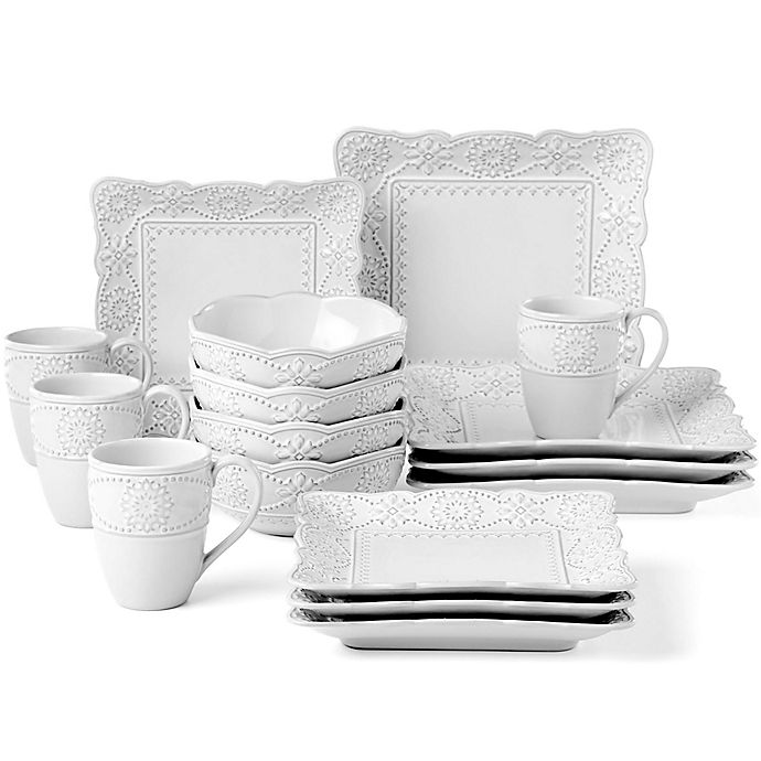 Alternate image 1 for Lenox® French Carved™ Square 16-Piece Dinnerware Set