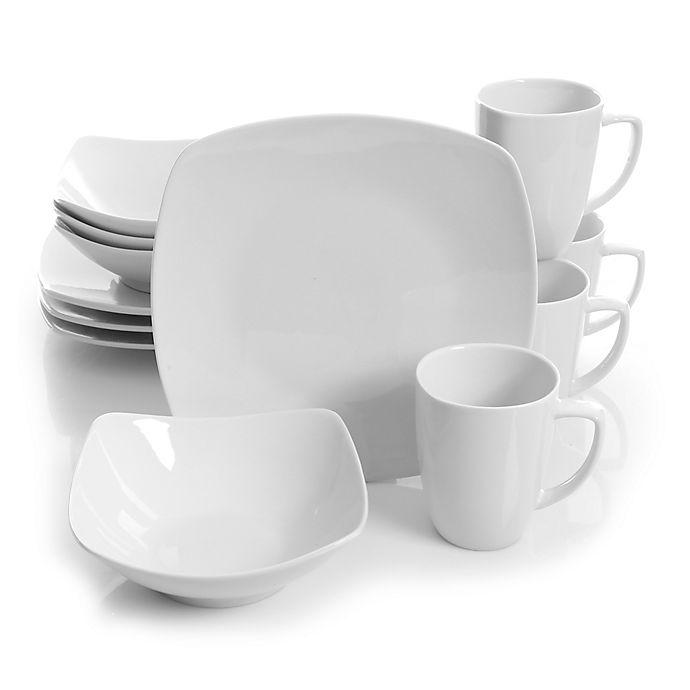 Alternate image 1 for Gibson Elite Zen 12-Piece Dinnerware Set in White