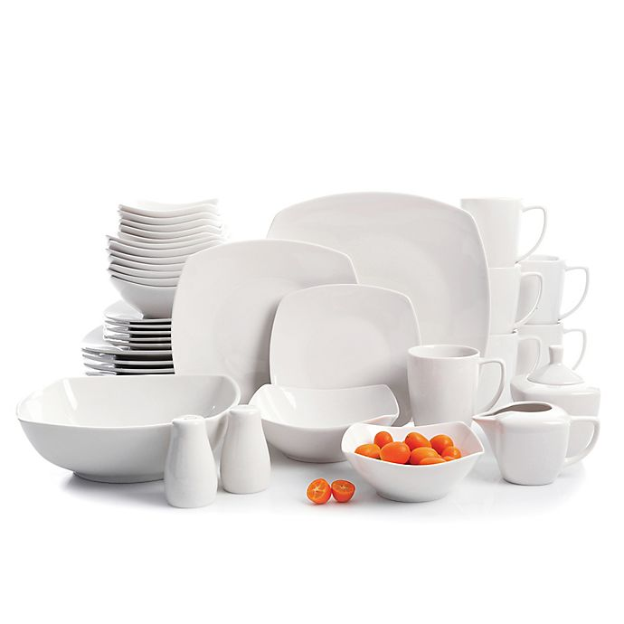 Alternate image 1 for Gibson Elite Zen 39-Piece Dinnerware and Serving Set in White