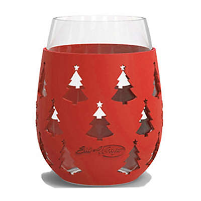 Sharkskinzz Sili-Wrap 18 oz. X-Mas Tree Wine Glass in Metallic Red