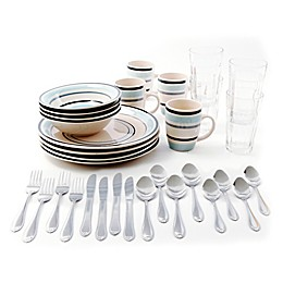 Gibson Deluxe Essentials 32-Piece Dinnerware Combo Set in Blue