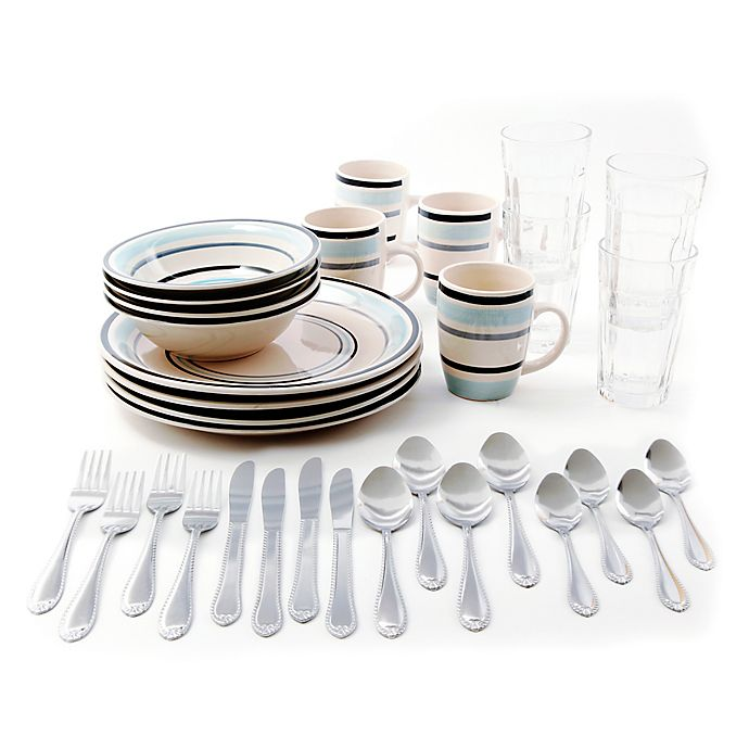 Alternate image 1 for Gibson Deluxe Essentials 32-Piece Dinnerware Combo Set in Blue