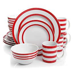 Gibson Just Dine Bistro Edge 16-Piece Dinnerware Set in Red/White