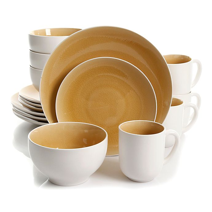 Alternate image 1 for Gibson Serenity 16-Piece Dinnerware Set in Amber/White