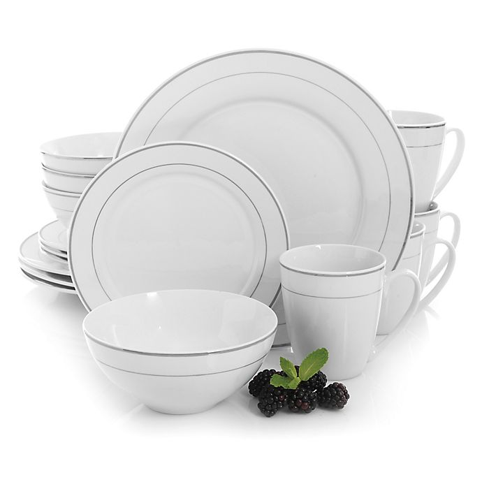 Alternate image 1 for Gibson Palladine 16-Piece Dinnerware Set in White/Silver
