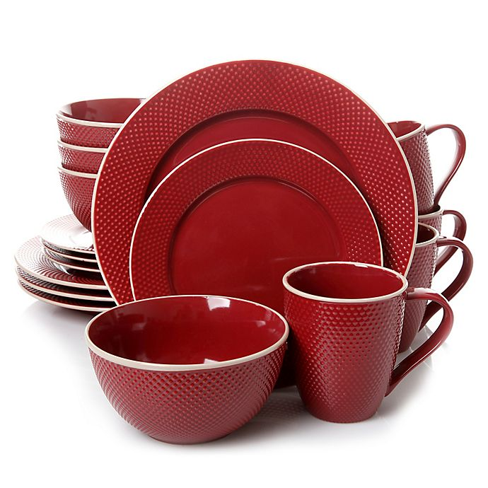 Alternate image 1 for Gibson Lilith 16-Piece Dinnerware Set in Red
