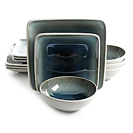 Gibson Namastay 12-Piece Dinnerware Set in Blue