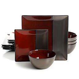 Gibson Decadence 12-Piece Dinnerware Set in Red/Brown