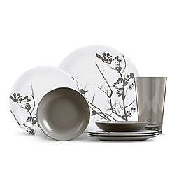 ThermoServ Dogwood Floral 16-Piece Melamine Dinnerware Set