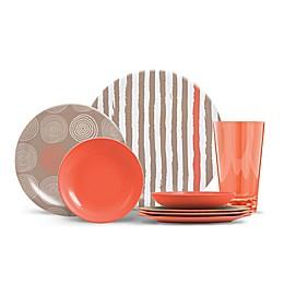ThermoServ Stripes and Spirals 16-Piece Melamine Dinnerware Set