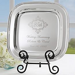 Anniversary Memento Square Tray in Silver