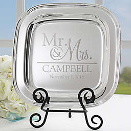 Wedded Pair Square Tray in Silver