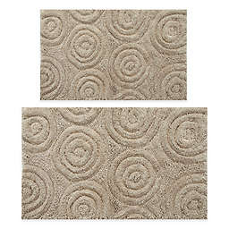 "Perthshire 20"" x 30"" and 21"" x 34"" Circles Bath Rug in Stone  (Set of 2)"