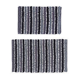 """Castle Hill London Chunky 17"""" x 24"""" and 21"""" x 34"""" Chenille Bath Rugs in Black/White (Set of 2)"""