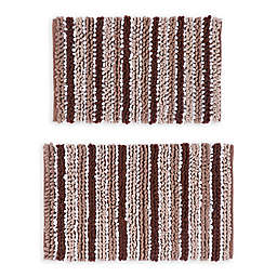 """Castle Hill London Chunky 17"""" x 24"""" and 21"""" x 34"""" Chenille Bath Rugs in Brown/White (Set of 2)"""