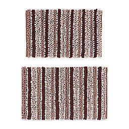 """Castle Hill London 21"""" x 34"""" and 24"""" x 40"""" Chunky Chenille Bath Rugs in Brown/White (Set of 2)"""