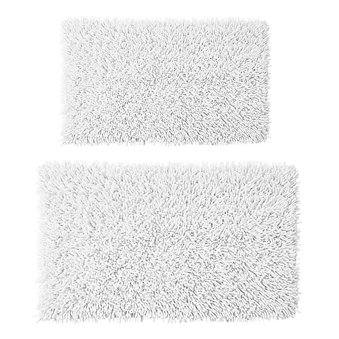 Alternate image 1 for Castle Hill London 2-Piece 17-Inch x 24-Inch/21-Inch x 34-Inch Chenille Shaggy Bath Rug Set in White